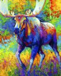 original the urge to merge bull moose marion rose canada animal painting 86500