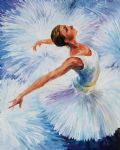 original white swan ballerina painting