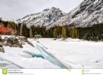 original winter mountains snowy scenery canadian rocky lake minnewanka banff national park alberta canada posters