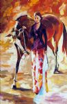 original woman with horse art