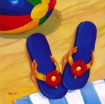 car watercolor paintings - a pair of slippers by oscar bluhm