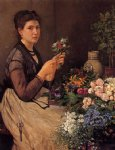 otto scholderer watercolor paintings - girl cutting flowers by otto scholderer