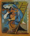 farm original paintings - farmers wife on a stepladder by pablo picasso