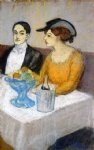pablo picasso man and woman a the table angel fernandez de soto and his friend painting