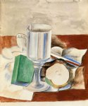 pablo picasso watercolor paintings - still life with class and an apple by pablo picasso