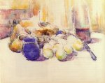 wine print - blue pot and bottle of wine by paul cezanne