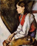 paul cezanne boy in a red vest v painting