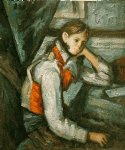 paul cezanne boy in a red waistcoat leaning on his elbow painting