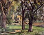 farm original paintings - chestnut tree and farm at jas de bouffan by paul cezanne