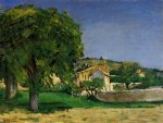 farm original paintings - chestnut trees and farmstead of jas de bouffin by paul cezanne