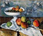 famous original paintings - compotier glass and apples by paul cezanne