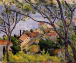 paul cezanne l estaque view through the trees painting 27755