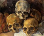 skull famous paintings - pyramid of skulls iii by paul cezanne