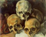 skull famous paintings - pyramid of skulls by paul cezanne