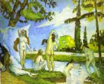 women acrylic paintings - six women bathing by paul cezanne