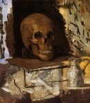 skull watercolor paintings - still life skull and waterjug by paul cezanne