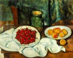 paul cezanne still life with a plate of cherries painting 27928