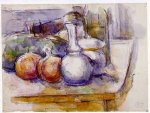 paul cezanne still life with carafe sugar bowl bottle pommegranates and watermelon prints