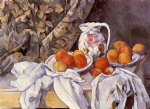 paul cezanne still life with curtain and flowered pitcher painting 27935
