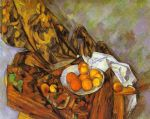paul cezanne still life with flower curtain and fruit painting 82822
