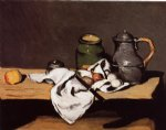 paul cezanne still life with green pot and pewter jug painting 27940