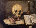 skull watercolor paintings - still life with skull and candlestick by paul cezanne