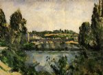 paul cezanne the bridge and waterfall at pontoise painting