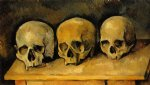 skull famous paintings - the three skulls by paul cezanne