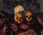 skull watercolor paintings - three skulls on a patterned carpet by paul cezanne