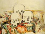 skull famous paintings - three skulls by paul cezanne