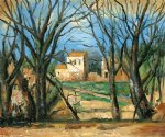paul cezanne trees and house painting-28117