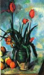 paul cezanne tulips in a vase painting