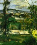 paul cezanne village behind trees ile de france painting 28145
