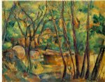 paul cezanne well millstone and cistern under trees painting 28075