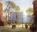paul cornoyer art - late afternoon washington square by paul cornoyer
