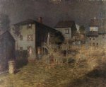 paul cornoyer art - old house moonlight gloucester massachusetts by paul cornoyer