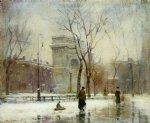 paul cornoyer art - winter in washington square by paul cornoyer