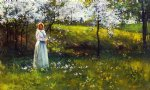 paul cornoyer art - woman with apple blossoms by paul cornoyer