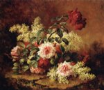 paul de longpre artwork - roses and mahogany by paul de longpre