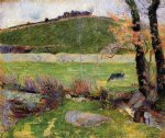 paul gauguin art - a meadow on the banks of the aven by paul gauguin