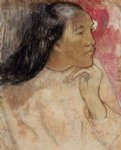 paul gauguin a tahitian woman with a flower in her hair painting 27145