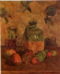 paul gauguin art - apples jug iridescent glass by paul gauguin