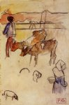 cow original paintings - bretons and cows sketch by paul gauguin