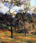 cow original paintings - cow in a meadow rouen by paul gauguin