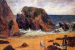 cow art - cows by the sea by paul gauguin