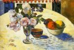 owl watercolor paintings - flowers in a fruit bowl by paul gauguin