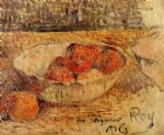 owl watercolor paintings - fruit in a bowl by paul gauguin