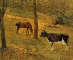 cow original paintings - horse and cow in a field by paul gauguin