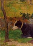 cow original paintings - kneeling cow by paul gauguin