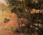 cow watercolor paintings - landscape with cows in an orchard by paul gauguin